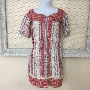 SAYLOR Boho Dress Size S Red White Off Shoulder